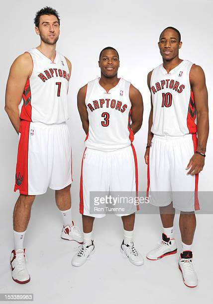 Andrea Bargnani Kyle Lowry and DeMar DeRozan of the Toronto Raptors poses for a portrait during a Media Day on October 1 2012 in Toronto Canada NOTE...