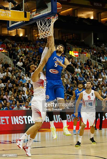 Andrea Bargnani of Italy drives to the basket against Nikola Mirotic of Spain during the FIBA EuroBasket 2015 Group B basketball match between Spain...