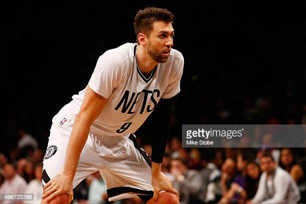 Andrea Bargnani of the Brooklyn Nets in action against the Los Angeles Lakers at the Barclays Center on November 6 2015 in Brooklyn borough of New...