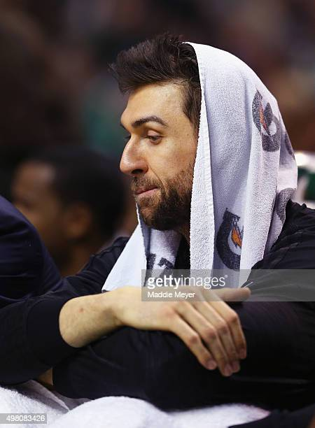 Andrea Bargnani of the Brooklyn Nets looks on from the bench during the third quarter against the Boston Celtics at TD Garden on November 20 2015 in...