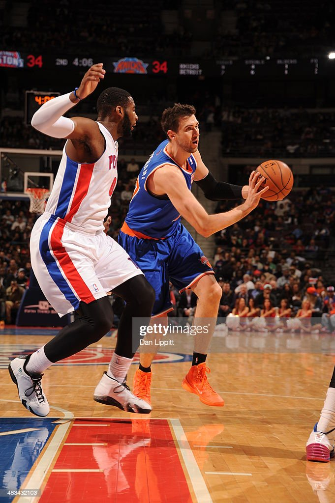 Andrea Bargnani #77 of the New York Knicks passes the ball during the game against the Detroit Pistons on November 19, 2013 at The Palace of Auburn Hills in Auburn Hills, Michigan.