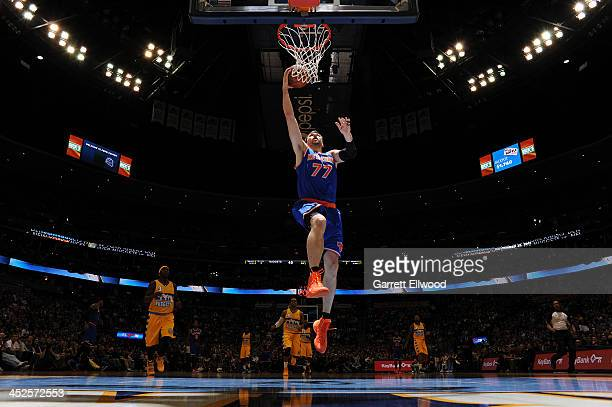 Andrea Bargnani of the New York Knicks shoots against the Denver Nuggets on November 29 2013 at the Pepsi Center in Denver Colorado NOTE TO USER User...