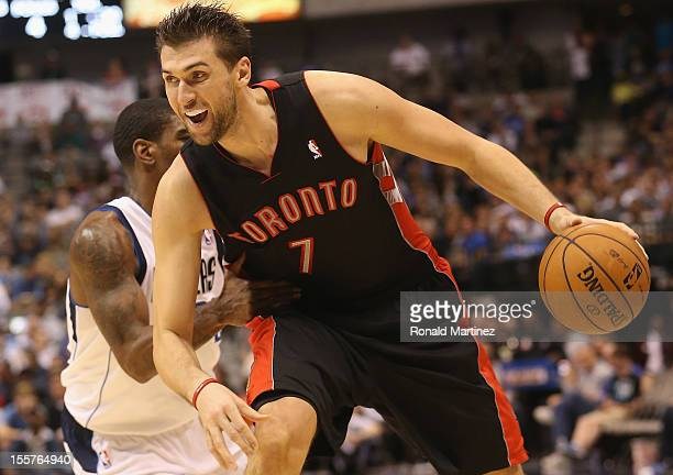 Andrea Bargnani of the Toronto Raptors at American Airlines Center on November 7 2012 in Dallas Texas NOTE TO USER User expressly acknowledges and...