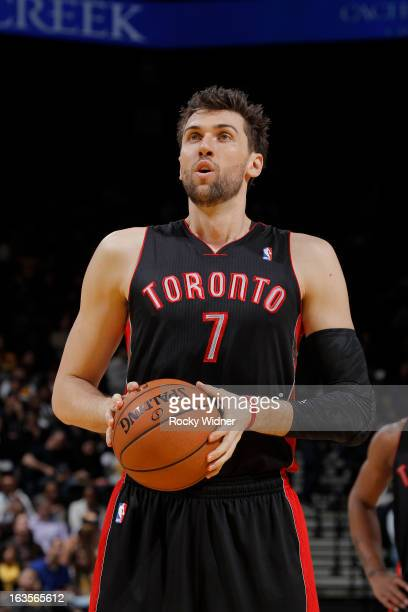 Andrea Bargnani of the Toronto Raptors attempts a free throw against the Golden State Warriors on March 4 2013 at Oracle Arena in Oakland California...