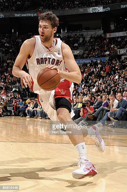 Andrea Bargnani of the Toronto Raptors drives against the Orlando Magic during the game on February 1, 2009 at Air Canada Centre in Toronto, Canada....