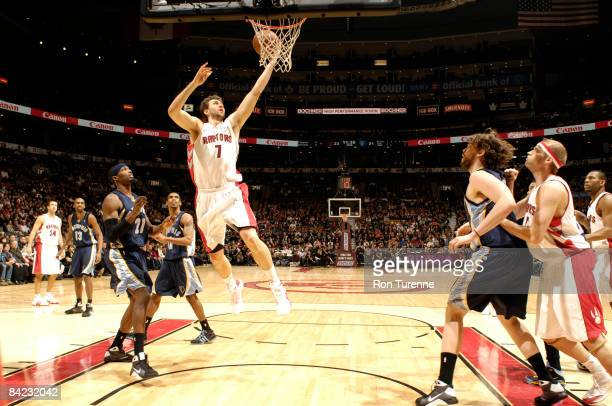 Andrea Bargnani of the Toronto Raptors drives the lane for a layup during a game against the Memphis Grizzlies on January 9, 2009 at the Air Canada...