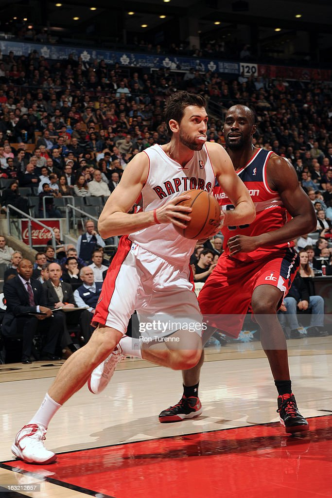Andrea Bargnani #7 of the Toronto Raptors drives to the basket against the Washington Wizards on February 25, 2013 at the Air Canada Centre in Toronto, Ontario, Canada.
