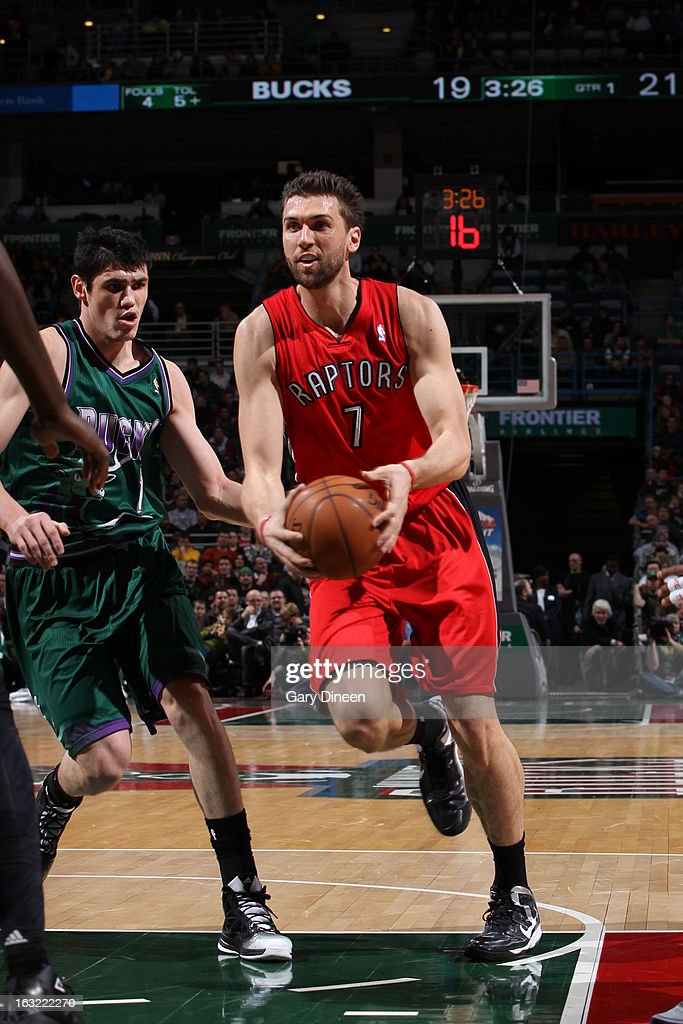 Andrea Bargnani #7 of the Toronto Raptors drives to the basket against the Milwaukee Bucks on March 2, 2013 at the BMO Harris Bradley Center in Milwaukee, Wisconsin.
