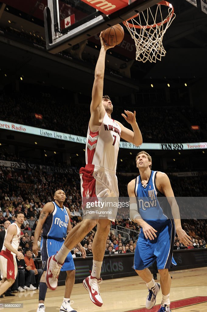 Andrea Bargnani of the Toronto Raptors gets free under the net for