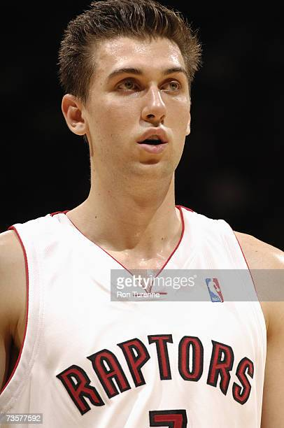 Andrea Bargnani of the Toronto Raptors looks on during a game against the Milwaukee Bucks at Air Canada Centre on March 2 2007 in Toronto Ontario...