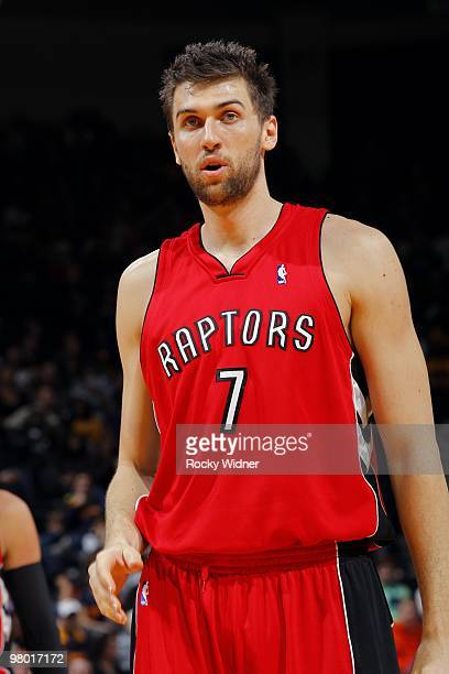 Andrea Bargnani of the Toronto Raptors looks on during the game against the Golden State Warriors at Oracle Arena on March 13 2010 in Oakland...
