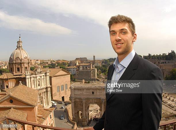 Andrea Bargnani of the Toronto Raptors poses for a photograph overlooking the Roman Forum Park while visiting with Walter Veltroni, the Mayor of Rome...