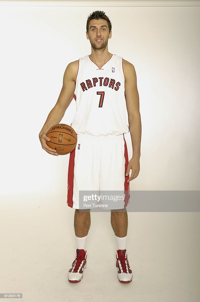 Andrea Bargnani #7 of the Toronto Raptors poses for a portrait during 2009 NBA Media Day on September 28, 2009 at Air Canada Centre in Toronto, Canada.