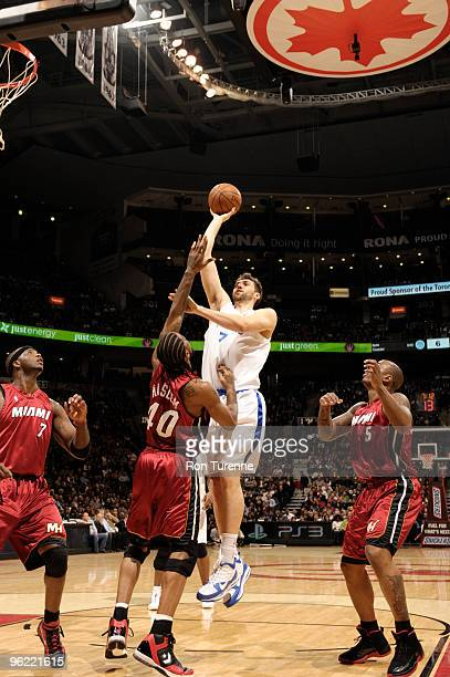 Andrea Bargnani of the Toronto Raptors puts up the jump hook over Udonis Haslem of the Miami Heat during a game on January 27 2010 at the Air Canada...