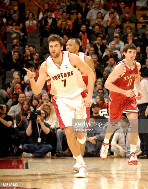Andrea Bargnani of the Toronto Raptors reacts after a crucial play during a Raptors victory against the Milwaukee Bucks on March 25 2009 at the Air...