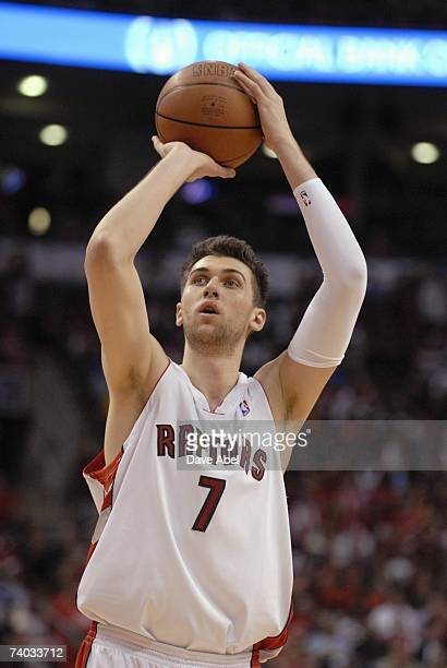 Andrea Bargnani of the Toronto Raptors shoots a free throw in Game Two of the Eastern Conference Quarterfinals against the New Jersey Nets during the...