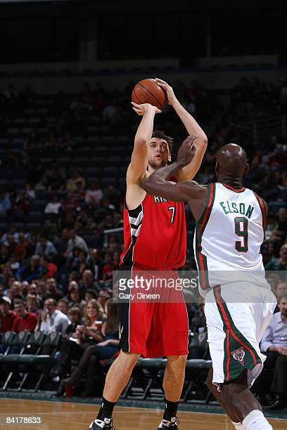 Andrea Bargnani of the Toronto Raptors shoots a jumpshot against Francisco Elson of the Milwaukee Bucks on January 5 2009 at the Bradley Center in...
