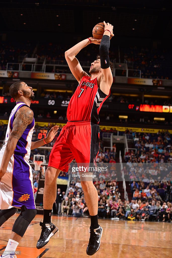 Andrea Bargnani #7 of the Toronto Raptors takes a shot against the Phoenix Suns on March 6, 2013 at U.S. Airways Center in Phoenix, Arizona.
