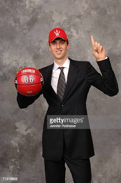 Andrea Bargnani of the Toronto Raptors, the number one overall pick, poses for a portrait backstage during the 2006 NBA Draft on June 28, 2006 in The...