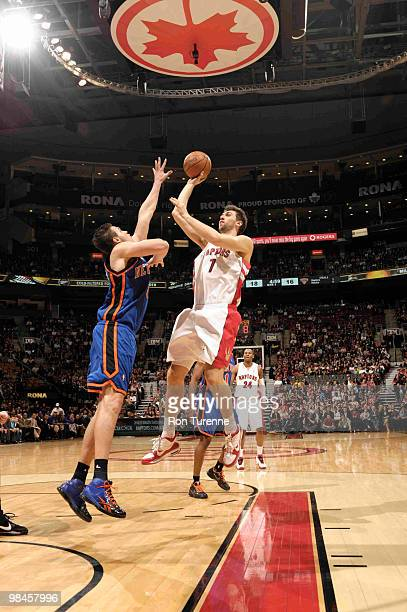 Andrea Bargnani of the Toronto Raptors tries the running jumper over Danilo Gallinari of the New York Knicks during a game on April 14, 2010 at the...