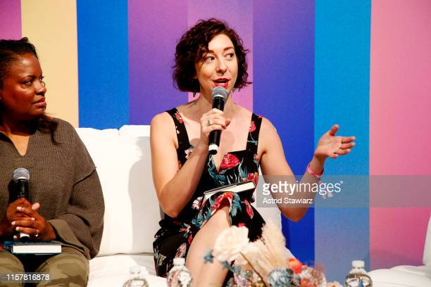 """Andrea Bartz speaks on stage during """"ThrillHer"""" panel discussion during POPSUGAR Play/Ground at Pier 94 on June 23, 2019 in New York City."""