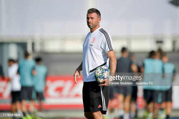 Andrea Barzagli during a Champions League training session at JTC on September 30, 2019 in Turin, Italy.