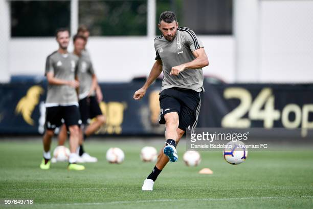 Andrea Barzagli during a Juventus training session at Juventus Training Center on July 13 2018 in Turin Italy