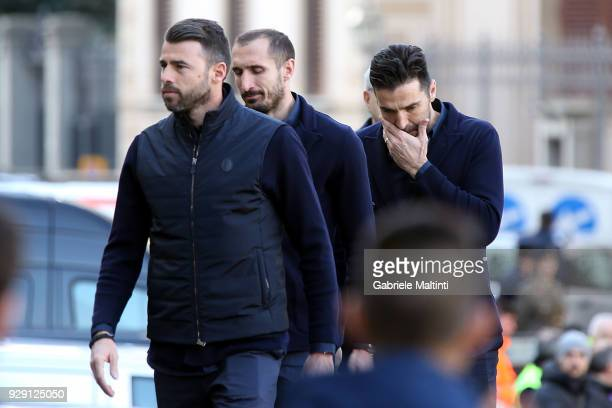 Andrea Barzagli Giorgio Chiellini and Gianluigi Buffon of Juventus ahead of a funeral service for Davide Astori on March 8 2018 in Florence Italy The...