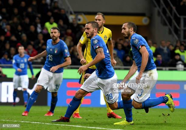 Andrea Barzagli Leonardo Bonucci and Giorgio Chiellini of Italy LOOK ON during the FIFA 2018 World Cup Qualifier PlayOff Second Leg between Italy and...