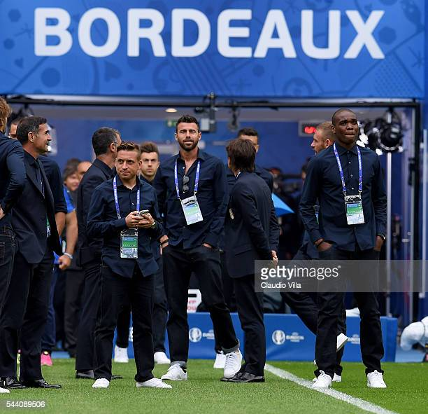 Andrea Barzagli looks on during Italy pitch walkabout ahead of tomorrow's UEFA Euro 2016 quarter final match against Germany at Stade de Bordeaux on...