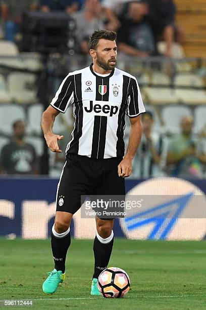 Andrea Barzagli of FC Juventus in action during the PreSeason Friendly match between FC Juventus and Espanyol at Alberto Braglia Stadium on August 13...