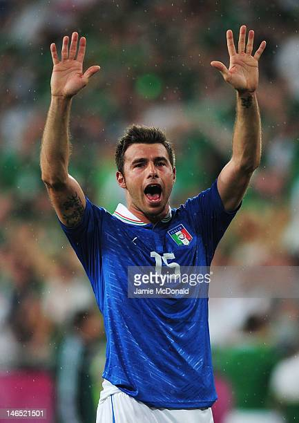 Andrea Barzagli of Italy celebrates victory and progress to the quarter finals during the UEFA EURO 2012 group C match between Italy and Ireland at...