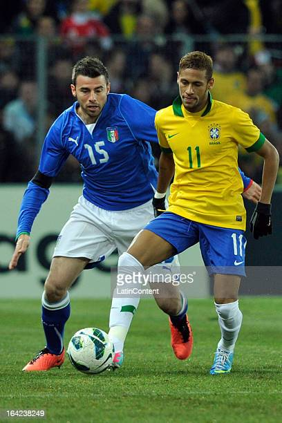 Andrea Barzagli of Italy competes for the ball with Neymar of Brazil during the FIFA friendly match between Brazil and Italy on March 21 2013 in...