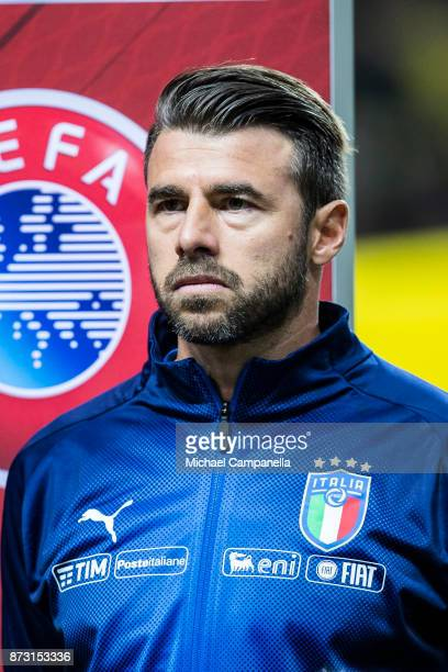 Andrea Barzagli of Italy during the FIFA 2018 World Cup Qualifier PlayOff First Leg between Sweden and Italy at Friends arena on November 10 2017 in...