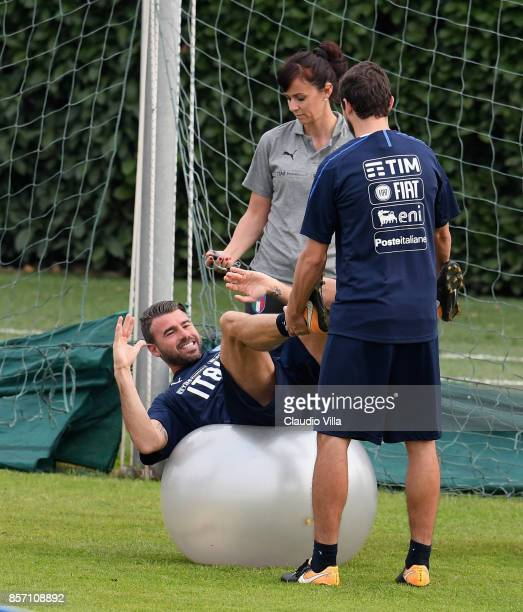 Andrea Barzagli of Italy in action during a training session at Italy club's training ground at Coverciano on October 3 2017 in Florence Italy