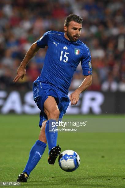 Andrea Barzagli of Italy in action during the FIFA 2018 World Cup Qualifier between Italy and Israel at Mapei Stadium Citta' del Tricolore on...