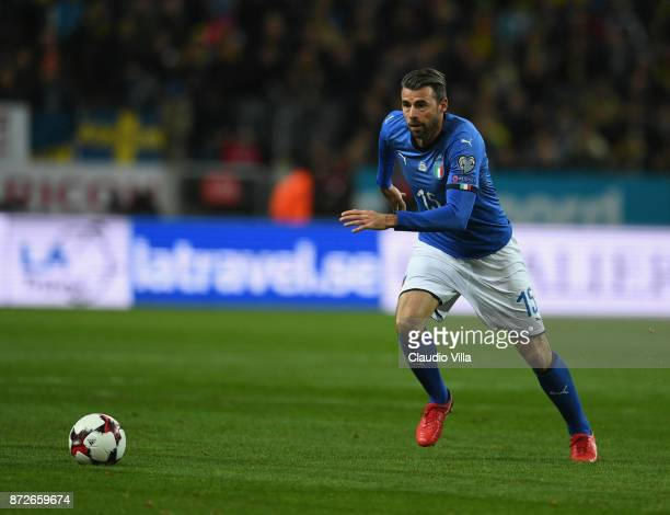 Andrea Barzagli of Italy in action during the FIFA 2018 World Cup Qualifier PlayOff First Leg between Sweden and Italy at Friends Arena on November...