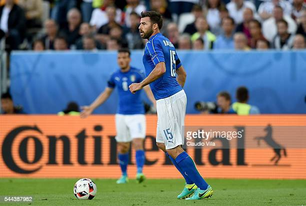 Andrea Barzagli of Italy in action during the UEFA Euro 2016 quarter final match between Germany and Italy at Stade Matmut Atlantique on July 2 2016...