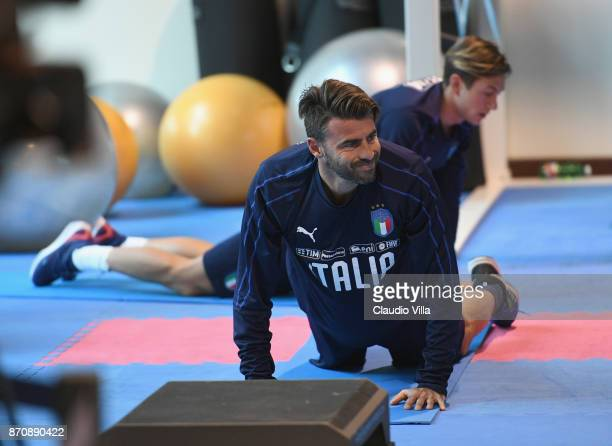 Andrea Barzagli of Italy looks on during a training session at Italy club's training ground at Coverciano on November 6 2017 in Florence Italy