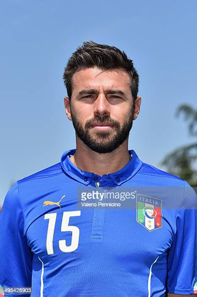 Andrea Barzagli of Italy poses during a portrait session ahead of the 2014 FIFA World Cup at Coverciano on June 3 2014 in Florence Italy