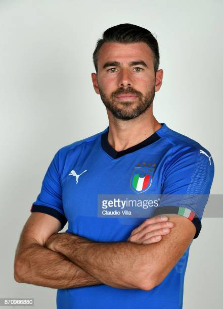 Andrea Barzagli of Italy poses during the official portrait session at Coverciano on November 6 2017 in Florence Italy