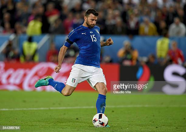Andrea Barzagli of Italy scores at the penalty shootout during the UEFA EURO 2016 quarter final match between Germany and Italy at Stade Matmut...