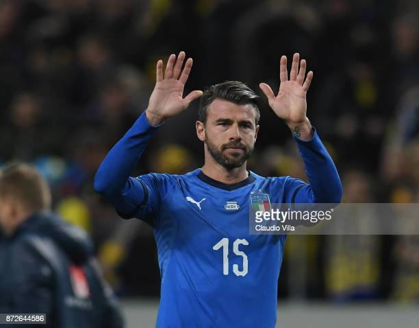 Andrea Barzagli of Italy thanks the supporters at the end of the FIFA 2018 World Cup Qualifier PlayOff First Leg between Sweden and Italy at Friends...