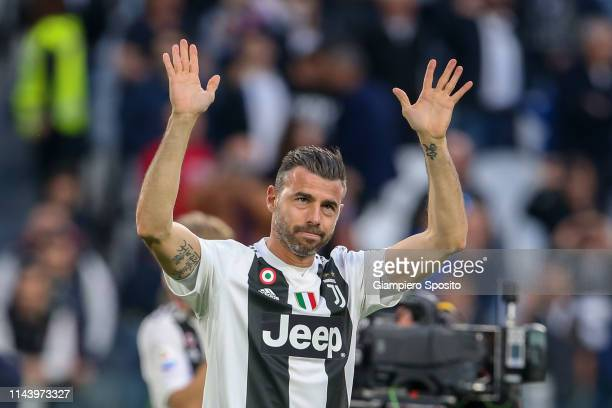 Andrea Barzagli of Juventus celebrates with his teammates after winning the italian league at the end of the Serie A match between Juventus and ACF...