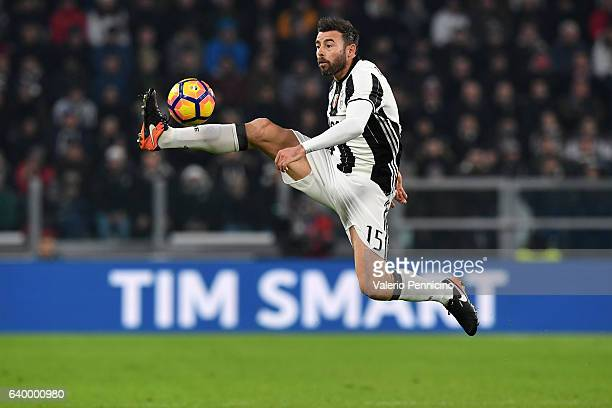 Andrea Barzagli of Juventus FC controls the ball during the TIM Cup match between Juventus FC and AC Milan at Juventus Stadium on January 25 2017 in...