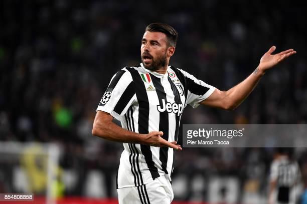 Andrea Barzagli of Juventus FC gestures during the UEFA Champions League group D match between Juventus and Olympiakos Piraeus at Juventus Stadium on...