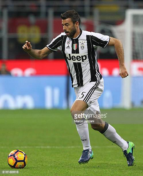 Andrea Barzagli of Juventus FC in action during the Serie A match between AC Milan and Juventus FC at Stadio Giuseppe Meazza on October 22 2016 in...