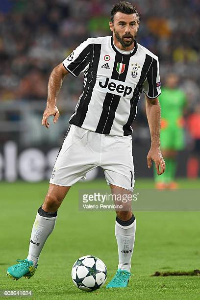 Andrea Barzagli of Juventus FC in action during the UEFA Champions League Group H match between Juventus FC and Sevilla FC at Juventus Stadium on...