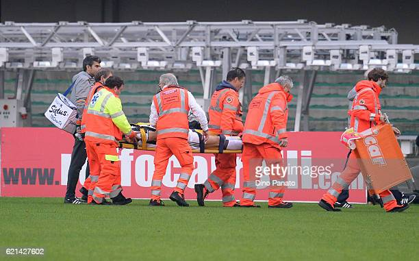 Andrea Barzagli of Juventus FC lies injured on the pitch during the Serie A match between AC ChievoVerona and Juventus FC at Stadio Marc'Antonio...