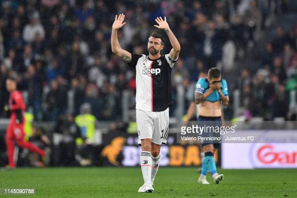 Andrea Barzagli of Juventus greets the fans and say farewall goodbye to the world of the football during the Serie A match between Juventus and...
